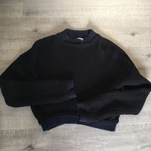 Silence and noise cropped thick navy sweater